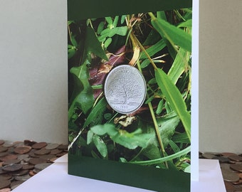Home at Last – Blank Greeting Card – A photo of a quarter as found in downtown Greenwich, Connecticut. Our Hometown.