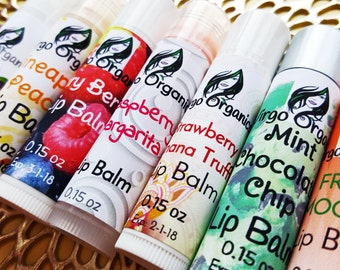 2 Pack / Organic Lip Balm / PICK ANY 2! / Gluten Free / Soft Healthy Lips / Moisturizing / Lots of Flavors! / Vegan and Beeswax