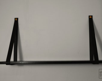 Leather shelves, BLACK, Shelf with leather straps