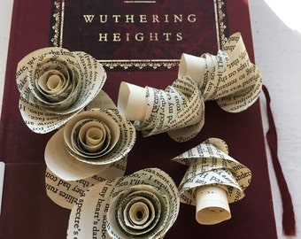 Wuthering Heights Emily Brontë Book Page Flowers