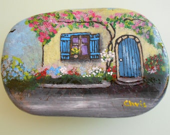 Hand Painted Stones,Home Decor,Painted Rock, Pebble,Acrylic,Fairies house
