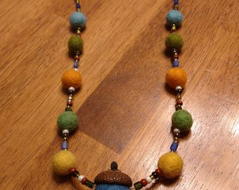 Beaded necklace with felted balls