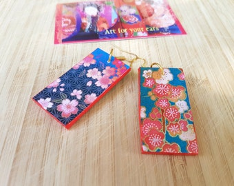 Japanese blue blooms - choyigami, rectangular light earrings