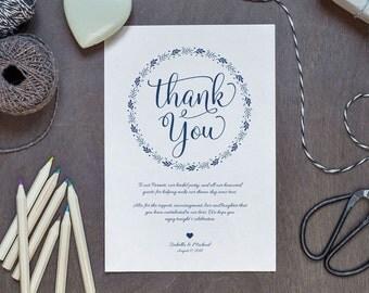 Navy Blue Wedding Thank You Printable Template, Thank You Card Template, Printable Thank you, Thank You Template, Thanks Template, WPC_223