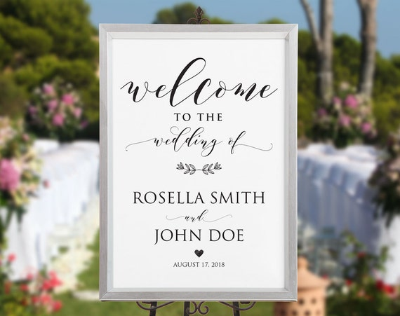 wedding welcome sign template welcome to our wedding diy. Black Bedroom Furniture Sets. Home Design Ideas