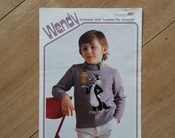 Sylvester and Tweetie Pie Sweater Knitting Pattern Wendy 2827, Sylvester and Tweety Pie Jumper Knitting Pattern by Joy Gammon