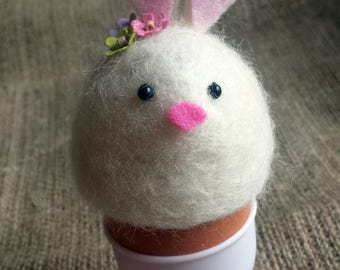 Easter home decoration easter Egg cozy Easter Bunny Needle Felted  - Handmade by Daisy Cottage Craft