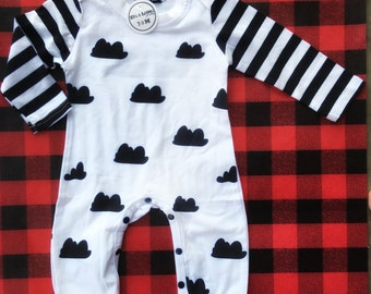 Up in the clouds Romper, Black and white outfit, hipster baby outfit, one piece outfit