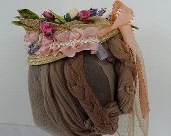 1870 Reproduction Victorian Straw Hat with apricot roses