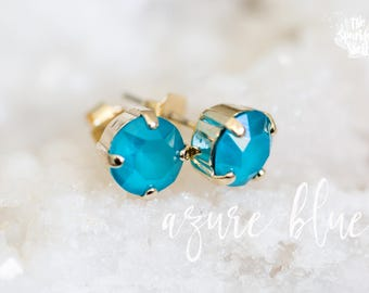Azure Blue Swarovski Gold Post Stud Earrings - 8mm