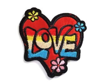 1960s Retro LOVE Heart and Flowers Iron on or Sew on Patch - H457