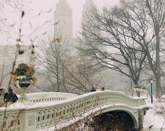 Snowfall on the Bow Bridge // Central Park, NYC Photography, New York City, Central Park Snow, Winter, Art Print