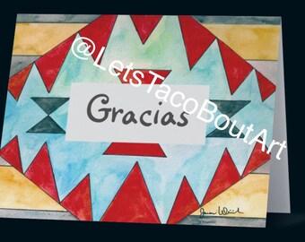 Gracias- Thank You- Greeting Card- Print- Blank inside-Watercolor Art- By Joanna Weinreich