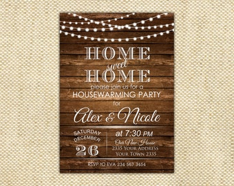 Housewarming Party Invitation. Rustic Housewarming Invitation. Housewarming Shower Invite. String light. Wood. House Warming Invite.