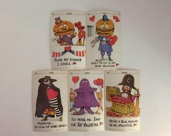 McDonald's Valentines Day Cards, 1978, Vintage, McDonald's Restaurant, 5 Cards