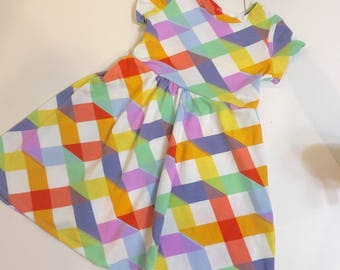 Play-All-Day Dress- Multicolor Quilt Squares