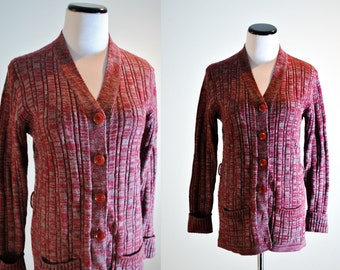 Cozy 70s Knit Cardigan - Woolco Stroller | Vintage 1970s Knit Sweater Red and Gray | Acrylic Sweater | 70s Sweater | 1970s Cardigan | Sz M