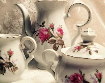 Vintage English Briar Rose Tea Pot Creamer And Sugar Bowl