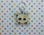 Mrs Skull wooden stitch marker - knitting notions - charm