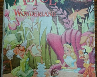 Vintage 1952 Walt Disney's Alice In Wonderland Collins Wonder Colour Books BoutiqueByDanielle