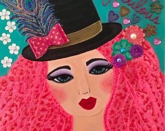 Fabulous Francesca Big Eye Art Whimsical Mixed Media Canvas 11x14