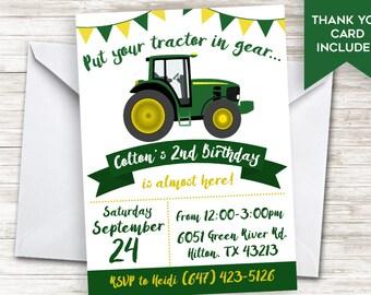 Green Tractor Invite Boys Kids John Deer Invitation 5x7 Digital Personalized