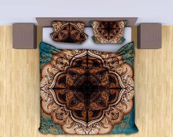 Turquoise Mandala Duvet cover set,Mandala bedding,Mandala bedspread,King/Queen/Twin size mandala duvet set with pillows, Bohemian bedding