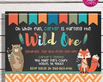 Wild One Birthday Invitation,  Wild One Birthday,  Wild One Invite,  Wild One Invitation, Tribal First Birthday, Wild One, First Birthday