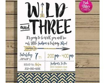 Wild Birthday Invite,  Wild Invite, Wild Invitation,  Young Wild and Three, Wild and Three, Third Birthday Invite,  Third Birthday