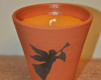 100% Pure Beeswax Candle Flower Pot - Angel Design