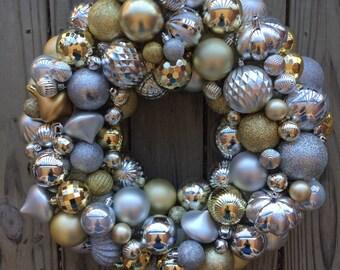 Silver & gold ornament wreath