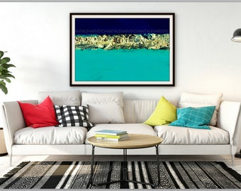 Print fine art photography abstract blue steal printing 8x12 10x15 12x18 14x21 16x24 18x27 metal turquoise scratch foto proxy quality paper