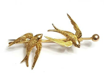 Victorian 9K Yellow Gold Swallows Brooch
