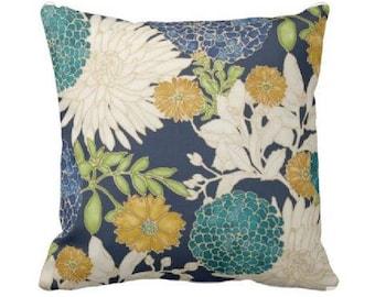 Floral Pillow Cover - Decorative Throw Pillow Covers - Blue and Teal Pillow - Teal Pillow - Couch Pillow - Pillow Sham - Colorful Pillow