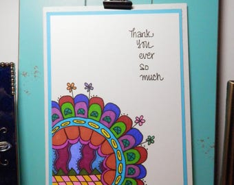 Thank You Card, Handmade Card, Greeting Card, Handmade Original