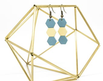 """Earrings """"The Mayas"""" blue and yellow handmade"""
