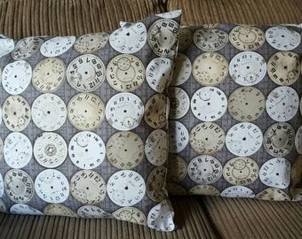 Grey Clock Cushions