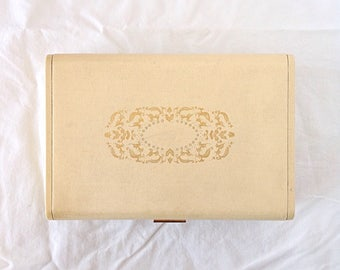 Vintage Cream Jewelry Box With Gold Design