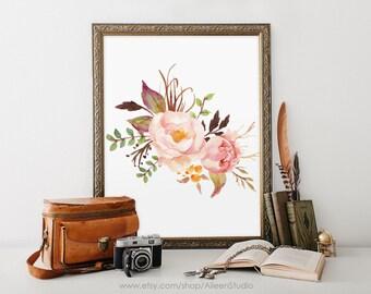 Floral Printable, Tribal Printable, Floral Wall Print, Bird Wall Art, Feather Print, Home Wall Decor, Boho Print,#WA045