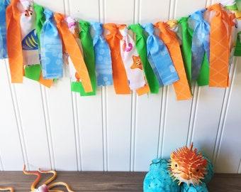 Under the sea banner, starfish banner, kids room decor, bathroom decor, birthday party decor, party decor, ocean banner, ocean garland,