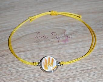 Elegant bracelet yellow with cabochon / Yoga