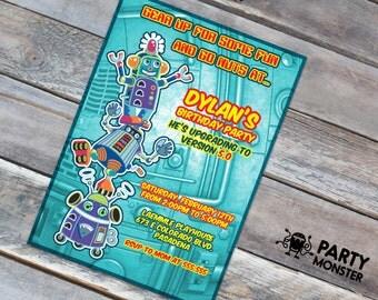 Robot Invitation, Robot Birthday Invitation, Robot Party, Cute Robot invite, Robot Bash