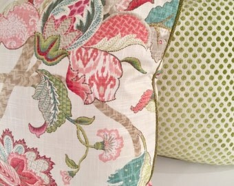 Floral Pillow Finders Keepers Raspberry Traditional Pillow Cover Spring Pillow Pink Pillow Teal Pillow Green Pillow Toss Pillow 20x20 cover