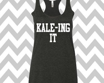 KALE-ING IT Tank Top Running Tee Exercise Tank Running Tank Top Cute Womens Gym Tank Top Funny Workout Top Spin Tank Top Graphic Tee Cardio
