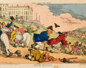 Vintage Bath Races British 18th Century Satirical Cartoon Poster A3/A2/A1 Print