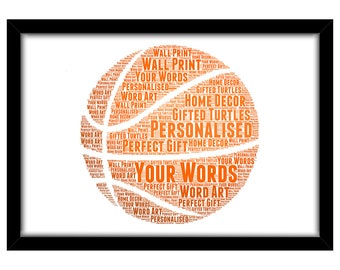 PERSONALISED Basketball Word Art Print Gift Idea Birthday Present Wall Art Home Decor Team Sports Basket Ball Hoop Net For Him Dad Brother