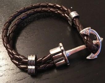 Anchor bracelet-brown