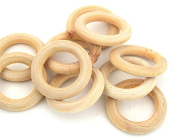Wooden rings natural 34mm - Natural wood rings set of 10/20/30/50 units / Natural wood rings 34mm - Natural wood rings