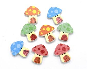 Buttons 2 holes wood sewing Scrapbooking 24x22mm mushrooms - 36 packs of 10/20/30/50 units