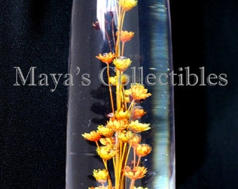 """Mid Century Lucite Cone Paperweight Real Flowers Inside Daisyglass Calif 6 1/2"""""""